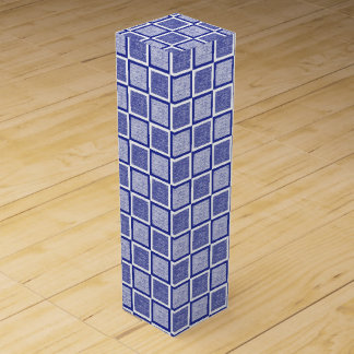 Static Blue and White Squares Wine Box