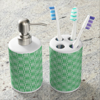 Static Green and White Squares Bathroom Set