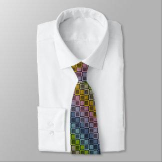 Static Pastel Rainbow Squares Black Tie