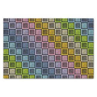 Static Pastel Rainbow Squares Black Tissue Paper