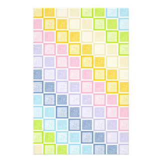 Static Pastel Rainbow Squares Stationery