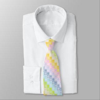 Static Pastel Rainbow Squares Tie