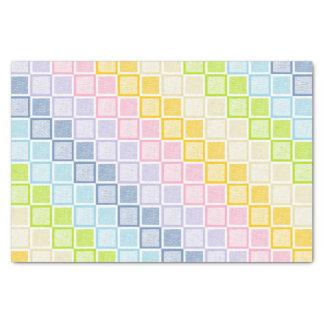 Static Pastel Rainbow Squares Tissue Paper