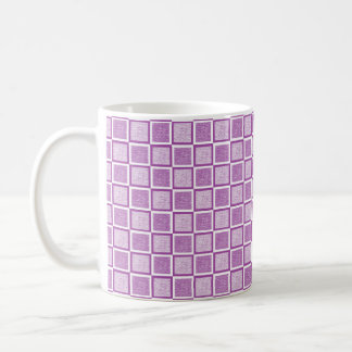 Static Purple and White Squares Coffee Mug