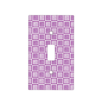 Static Purple and White Squares Light Switch Cover