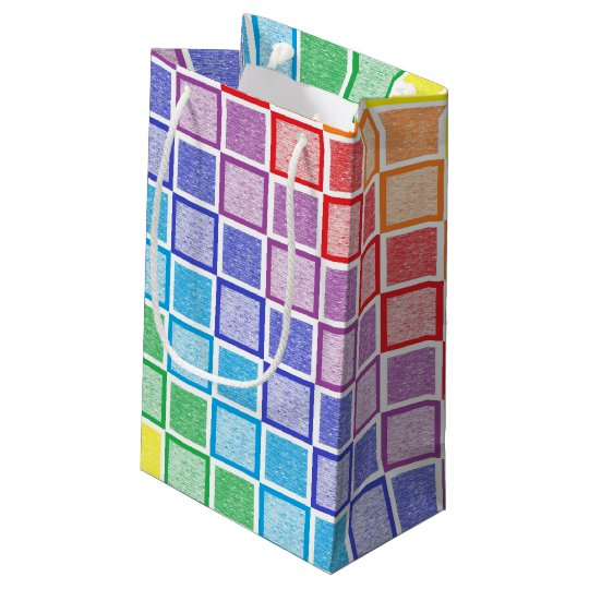 Static Rainbow Squares Small Gift Bag