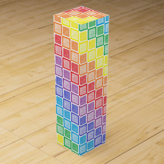 Static Rainbow Squares Wine Box