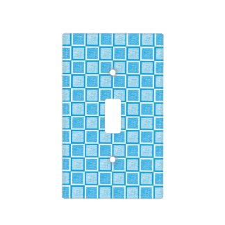 Static Turquoise and White Squares Light Switch Cover