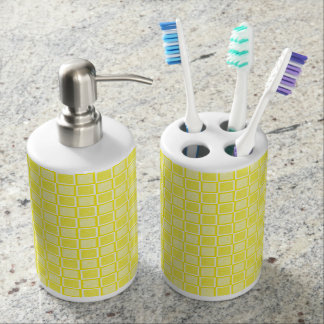 Static Yellow and White Squares Soap Dispenser And Toothbrush Holder