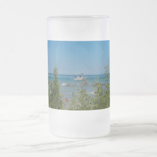 Stationed At Mackinac Frosted Glass Beer Mug