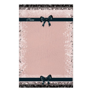 Stationery Antique Old Paper Pink Black Bows