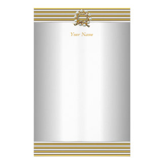 Stationery Elegant Gold Silver White Pearl