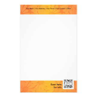 Stationery Generic Template Orange Flower