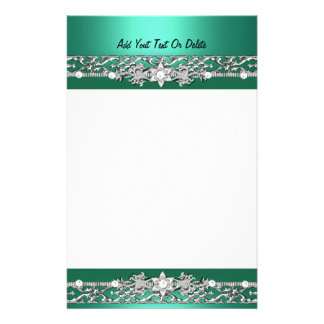 Stationery Jade Green Silver Diamond Image