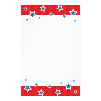 Stationery with blue stars and red border