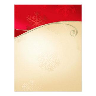 Stationnaire rouge d'or de vacances de Noël En-tête De Lettre Avec Motif