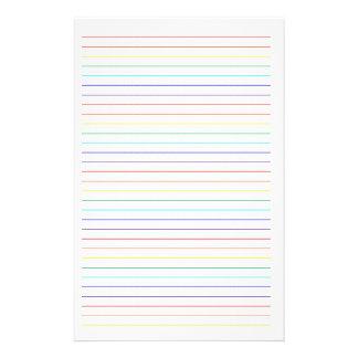 Stationnaire simple rayé par arc-en-ciel papier à lettre personnalisé
