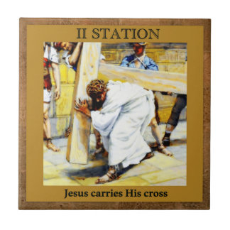 Stations of the Cross #2 of 15 Jesus Carries Cross Tile