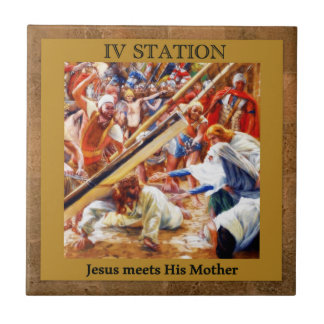 Stations of the Cross #4 of 15 Jesus Meets Mother Ceramic Tiles
