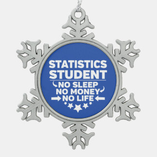 Statistics Student No Life or Money Snowflake Pewter Christmas Ornament