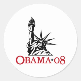 Statue 2008 de Barack Obama d'autocollant de Sticker Rond