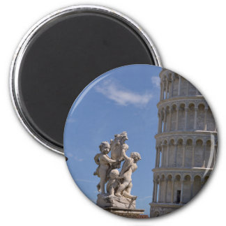 Statue and leaning Tower of Pisa 2 Inch Round Magnet