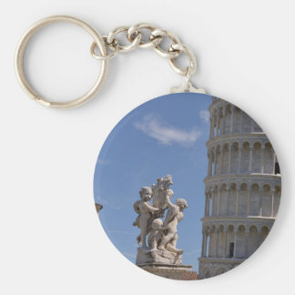 Statue and leaning Tower of Pisa Basic Round Button Keychain
