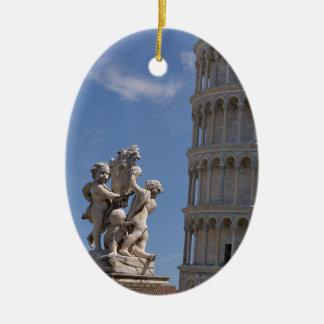 Statue and leaning Tower of Pisa Ceramic Oval Ornament