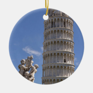 Statue and leaning Tower of Pisa Round Ceramic Ornament