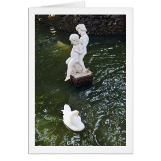 Statue and swan in Madeira Greeting Card