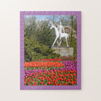 Statue and tulips jigsaw puzzle
