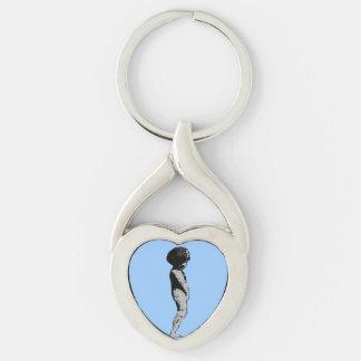 Statue Boy Cherub Keyring (Blue) Silver-Colored Twisted Heart Keychain