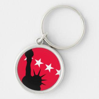 Statue de la liberté avec les étoiles rouges et de porte-clé rond argenté