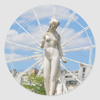 Statue depicting woman in Paris Round Sticker
