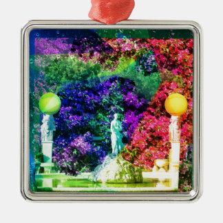 Statue, fountain and Tennis ball Silver-Colored Square Ornament