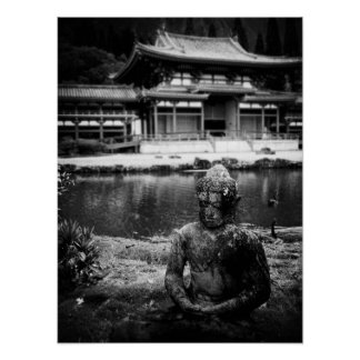 Statue in Front of the Buddhist Temple, Oahu B&W Poster