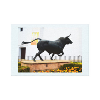 Statue of a bull canvas print