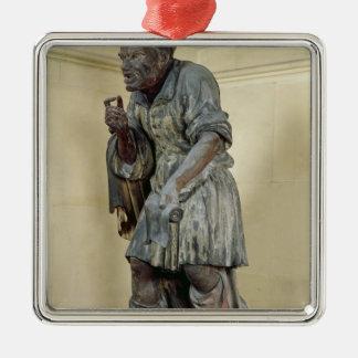 Statue of Aesop Silver-Colored Square Ornament