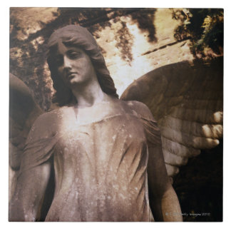 Statue of an Angel in a Cemetery Tile