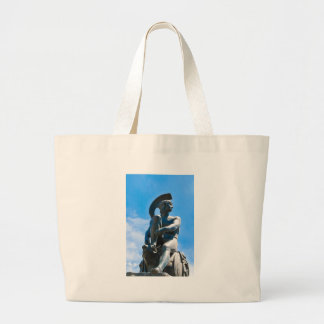 Statue of Greek soldier in Athens, Greece Large Tote Bag