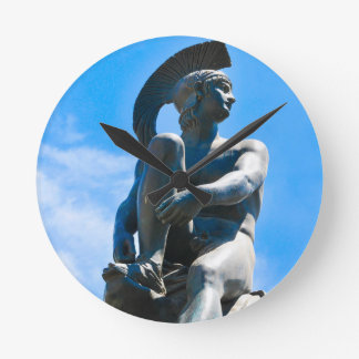 Statue of Greek soldier in Athens, Greece Round Clock