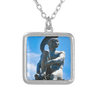 Statue of Greek soldier in Athens, Greece Silver Plated Necklace