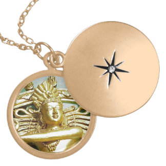 Statue of Hindu god Shiva Gold Plated Necklace