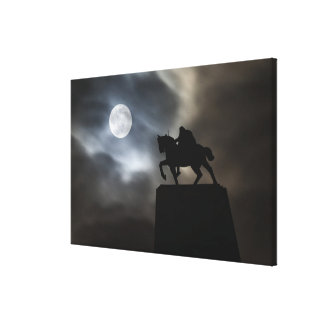 Statue of King Kralja Tomislava silhouetted Canvas Print