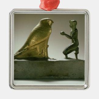 Statue of King Taharqa worshipping the falcon-god Metal Ornament