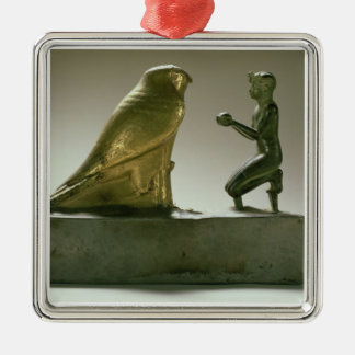 Statue of King Taharqa worshipping the falcon-god Silver-Colored Square Ornament