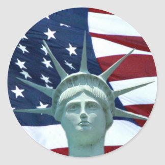 Statue of Liberty American flag Classic Round Sticker