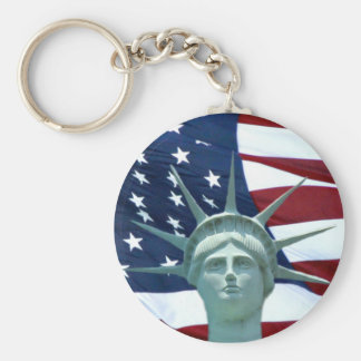 Statue of Liberty American flag Key Chain