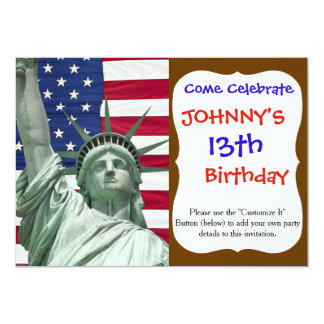 """Statue of Liberty and American Flag 5"""" X 7"""" Invitation Card"""