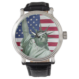 Statue of Liberty and American Flag Wrist Watches